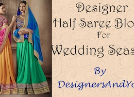 Party Wear Sarees Designs: Modern & Fancy Indian Sarees Latest Half N Half Patterns -DesignersAndYou