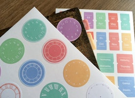 4 Sheets time schedule sticker vintage clock monthly lable time table weekly monthly planner sticker 2017 life planner index sticker gift