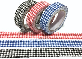 3 Rolls gingham tape gingham check fabric tape red blue black gingham adhesive fabric tape classic check pattern deco masking tape set