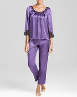 Oscar de la Renta Pink Label Lace Luster Pajama Set (On Sale)