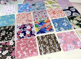 fabric label vintage fabric pattern sticker set colorful Japanese fabric cute traditional fabrics designer fabric pattern label seal gift