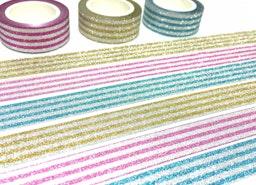 3 rolls stripe Glitter washi tape, glitter pink shimmer blue shining yellow washi masking tape, craft project gift wrapping tape glitter tape