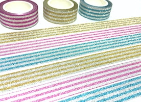 3 rolls stripe Glitter washi tape, glitter pink shimmer blue shining yellow washi masking tape, craft project gift wrapping tape glitter tape