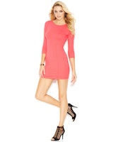 GUESS Three-Quarter-Sleeve Cutout Body-Con Dress