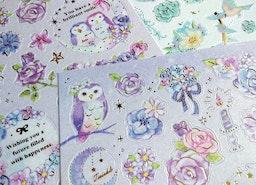 owl sticker purple owl diary sticker fancy owl planner sticker petty flower owl calendar sticker pluie douce japanese sticker paper gift