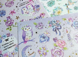 owl sticker purple owl diary sticker fancy owl planner sticker petty flower owl calendar sticker pluie douce japanese sticker paper gift