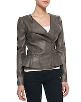 CUSP by Neiman Marcus: Peplum Asymmetric-Zip Faux-Leather Jacket, Mushroom
