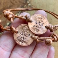 Custom penny adjustable bracelets