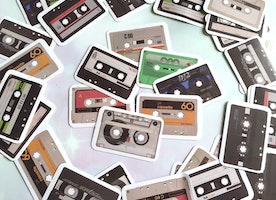 40 cassette sticker radio tape audio tape decor sticker flake stereo radio player cassette tape label sticker vintage cool little gift