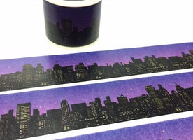 City night scenes Washi Tape 5M cityscape Skyline landscape masking tape skyscraper night city view tall buildings sticker wide tape