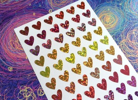 colorful heart glitter heart sticker shimmer heart shiny heart sticker rainbow heart Sticker heart shape planner sticker label gift