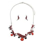 Twist Effect Embellished Necklace Set - Red