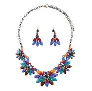 Floral Effect Necklace Set - Multi