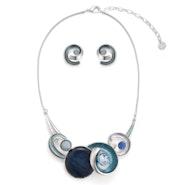 Swirls Necklace Set - Blue