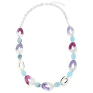 Linked Stone Chain Necklace - Purple