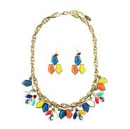 Shapes and Chain Necklace Set - Gold/Multi