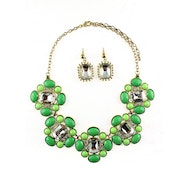 Floral and Stone Design Necklace Set - Green