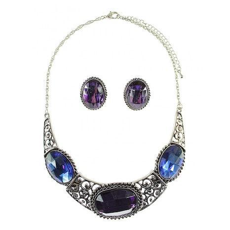 Vintage Large Oval Stone Collar Necklace Set - Multi