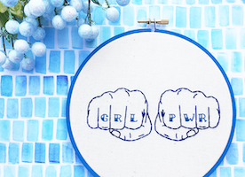 "Grl Pwr 6"" Hand Embroidery"