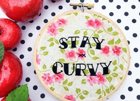 "Stay Curvy 4"" Hand Embroidery"