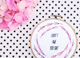"I Don't Owe You S*** 6"" Hand Embroidery"