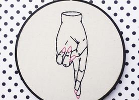"Fingers Crossed 6"" Hand Embroidery"