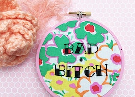 "Bad B**** 4"" Hand Embroidery"