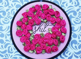 "S*** Rosette 4"" Hand Embroidery"
