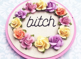 "B**** Floral 4"" Hand Embroidery"