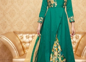 Greenish Blue Color Handwork Embroidered Designer Anarkali Dress Suit