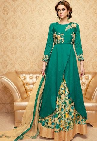 Greenish Blue Color Handwork Embroidered Designer Anarkali Dress Suit
