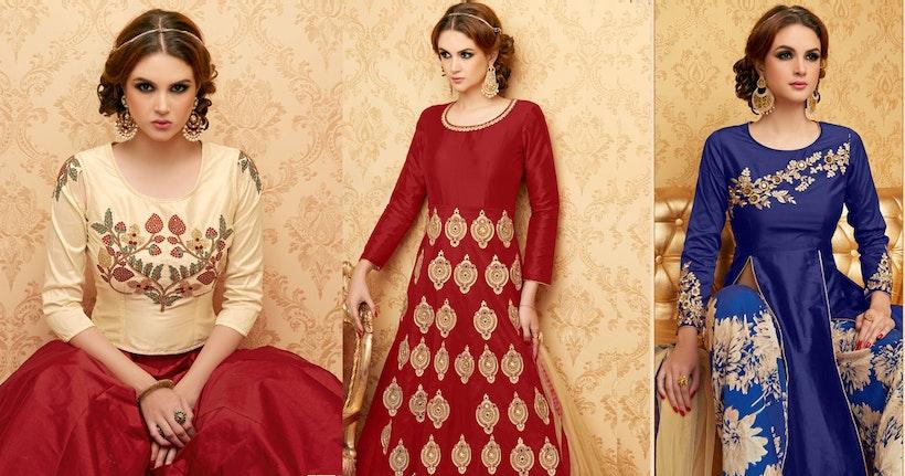 Red Color Handwork Embroidered Designer Anarkali Dress Suit