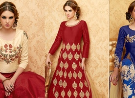 Maroon Color Handwork Embroidered Designer Anarkali Dress Suit