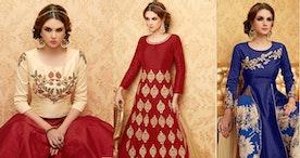 Cream Color Handwork Embroidered Designer Anarkali Dress Suit