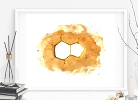 Caffeine Molecule Coffee Art