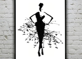 Forest Goddess | Black & White Watercolor Fashion Illustration