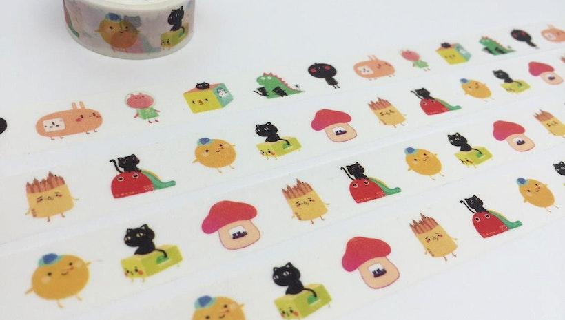 cartoon characters tape 3M Cat mushroom house rabbit animal washi tape funny cartoon sticker tape kids planner kids diary scrapbook gift