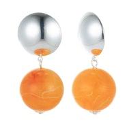 Ball Drop Earrings - Silver/Orange