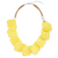 Floral Lay Cord Necklace - Yellow