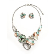 Textured Shells Necklace Set - Silver/Green