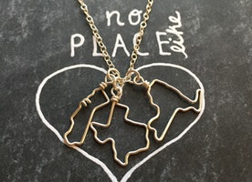 Custom State or Country Outline Necklace