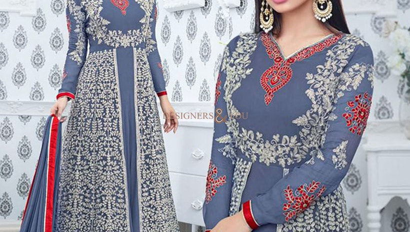 Fascinating Blue Embroidered Georgette Celebrity Mouni Roy Dress