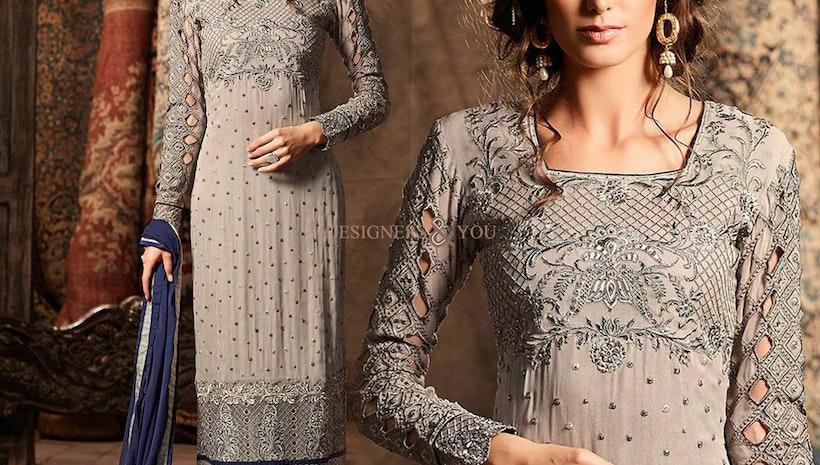 Alluring Grey Aline Georgette New Pakistani Dress