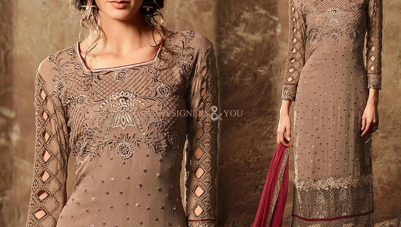 Decent Brown Aline Georgette New Pakistani Suit