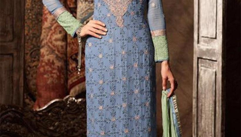 Exquisite Blue Aline Georgette Latest Pakistani Dress