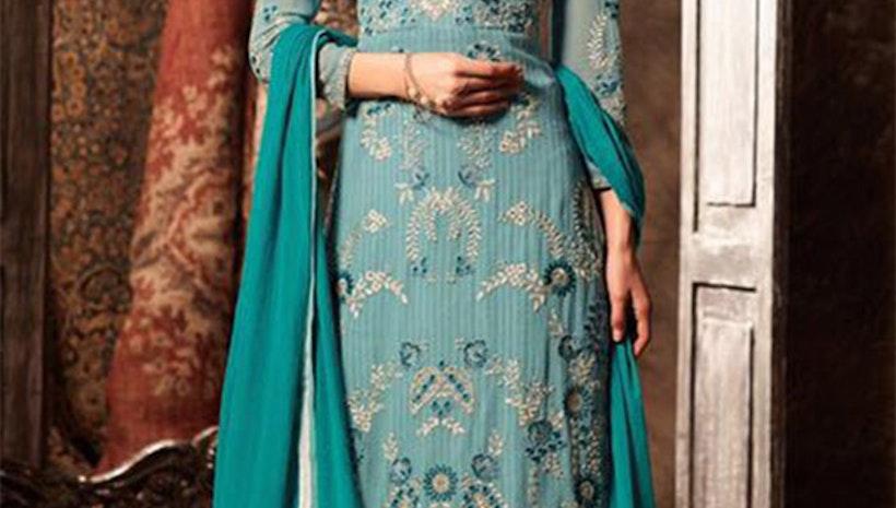 Smashing Green Designer Georgette Punjabi Suit Boutique Design