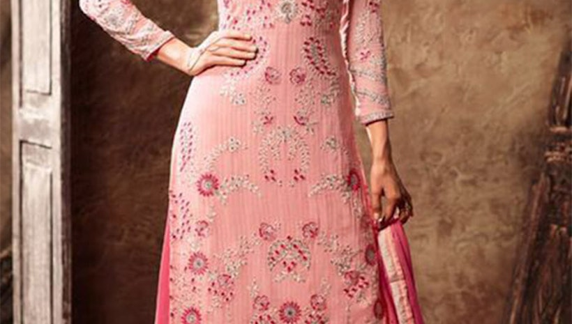 Divine Peach Designer Georgette Punjabi Dress Design