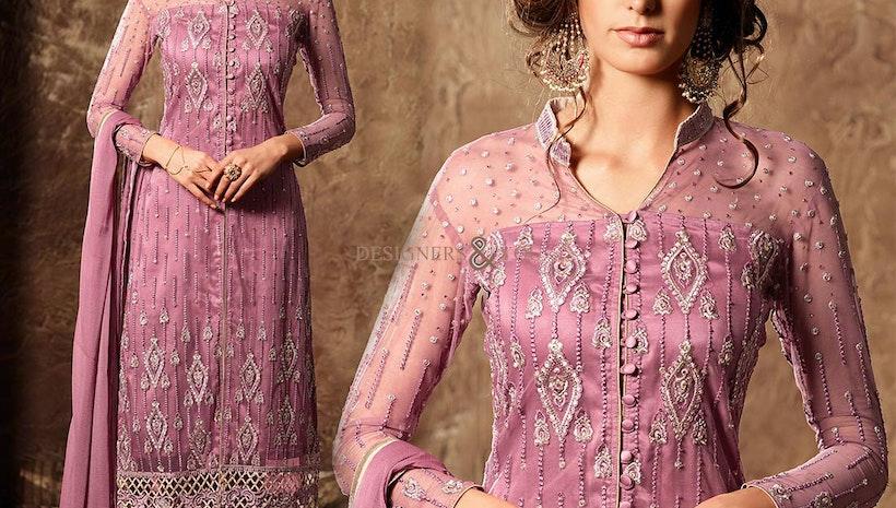 Artistic Pink Designer Net Latest Punjabi Suit