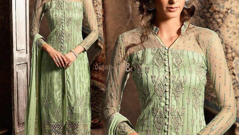 Irresistible Green Designer Net Latest Punjabi Dress