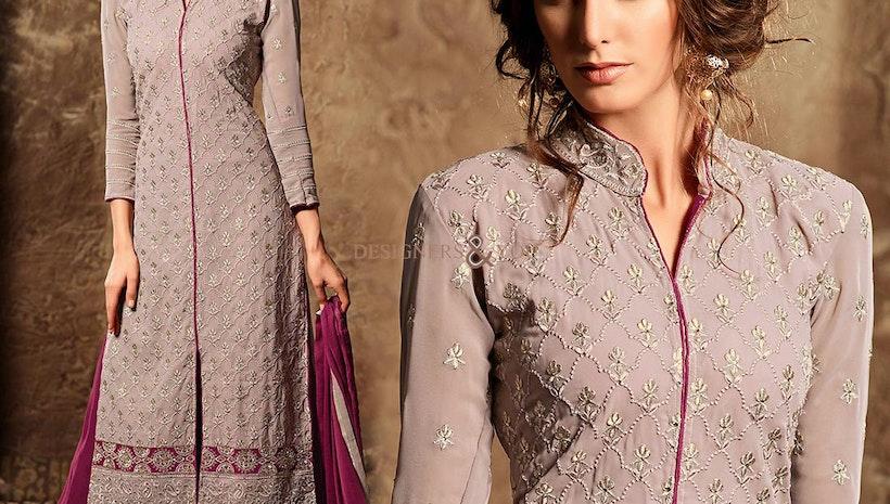 Stunning Pink Designer Georgette New Punjabi Suit